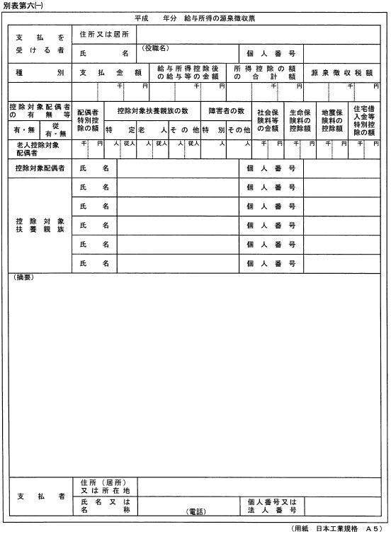 源泉徴収票,マイナンバー制度,書式